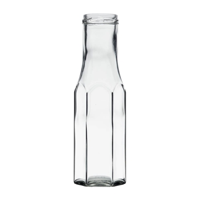 Image de Bouteille sauce hexagonale  250ml verre TO43 transparent