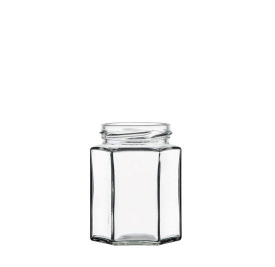 Picture of Hexagonal jar 195ml glass TO58 transparent